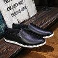 Los hombres de Cuero Zapatos Casuales 2016 Primavera/Zapatos Para Hombre Del Diseñador de Moda de Verano Zapatos Ocasionales Respirables Para Hombre Zapatos Cómodos Mocasines