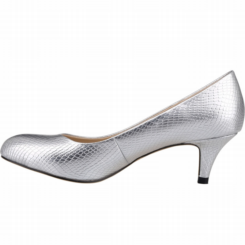 LOSLANDIFEN Women Silver Shallow Pumps 5CM Med Heels Low-cut Slip-on Shoes Sexy Bridal Pumps Plus Size 35-42 Gold Champagne vasque ботинки inhaler ii low 7343 жен 6 magnet silver pine med