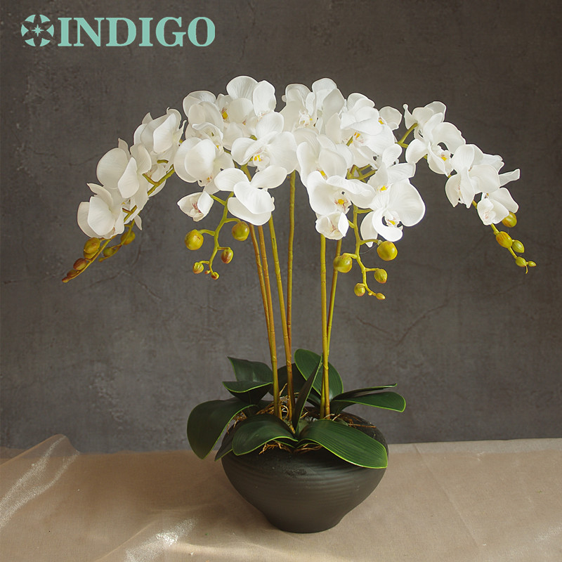 INDIGO- 9pcs / lot Orquídeas de arreglos florales con hojas Real Touch Flower Table Wedding Party Evento decorativo Envío gratis