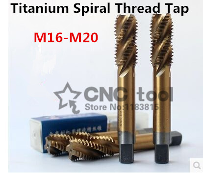 New 1PCS M16/M16*1.5/M18/M18*1.5/M20 Yellow Coated High Speed Steel Machine Taps Spiral Groove Machine Tap,Spiral Thread Tap