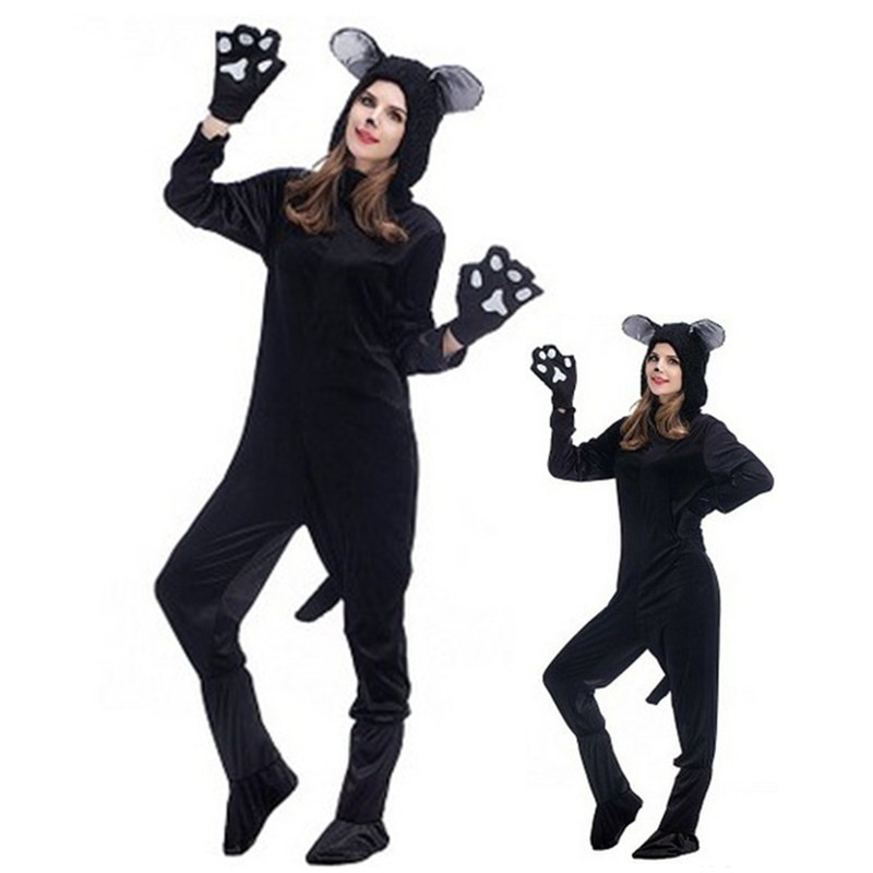 Unisex adult Mouse Cosplay Halloween Bear Animal Costumes cat Kigurumi Winter jumpsuit pajamas Christmas Masquerade Party dress