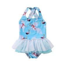 Lovely Toddler Kid Baby Girls Cartoon Swimwear Swimsuit Bathing Bikini One-Piece Suits Lace Up Beachwear