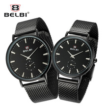 BELBI краткое циферблат влюбленных Бизнес часы Для мужчин Для женщин Нержавеющаясталь кварцевые Водонепроницаемый наручные часы Montre Homme