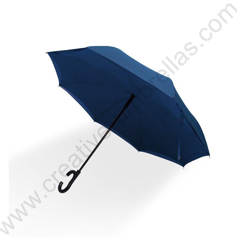 113 cm auto ouvert c-crochet inverse mains libres entreprise parapluie agrandir double couches inversé debout parasol avec ceintures d'épaule