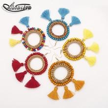 Womens Statement Crystal Drop Earrings Rice Beads Handmade Rattan Tassel Pendant Female Wedding Party Accessories