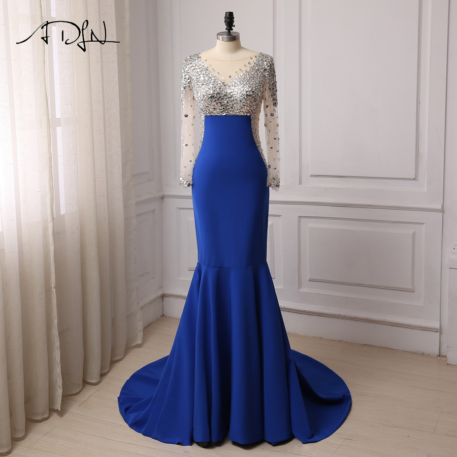 ADLN Cheap Royal Blue Evening Dresses Mermaid Long Sleeves Scoop Neck Crystals Stones Sweep Train Prom