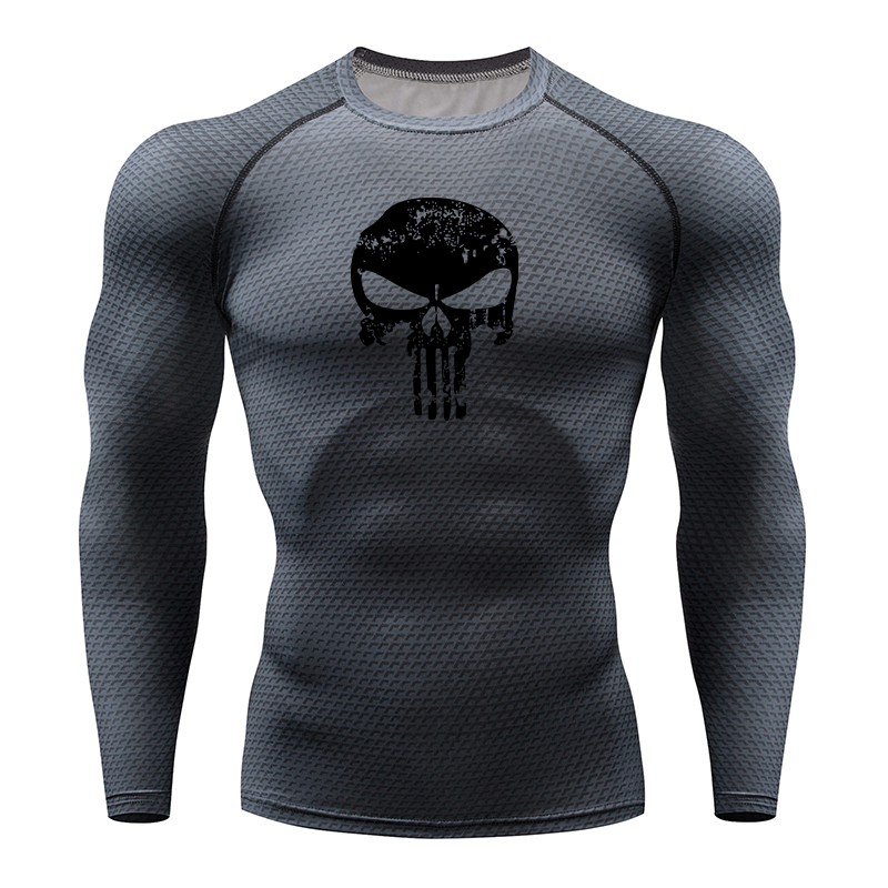 Gym Clothing Sports Shirt Fitness-Top Skull Snake Compression Rashgard Quick-Drying Stretch