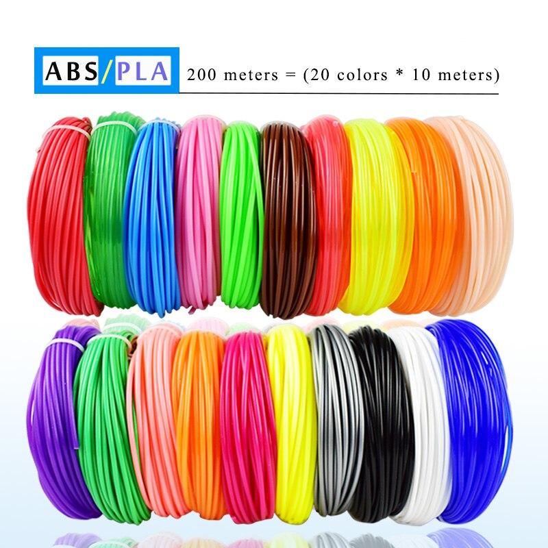 Weiyu 3 d 10 ou 200 medidores/cor 1.75mm abs/pla material 3d pla filamento para 3d caneta filamento abs plástico 3d canetas suprimentos cor