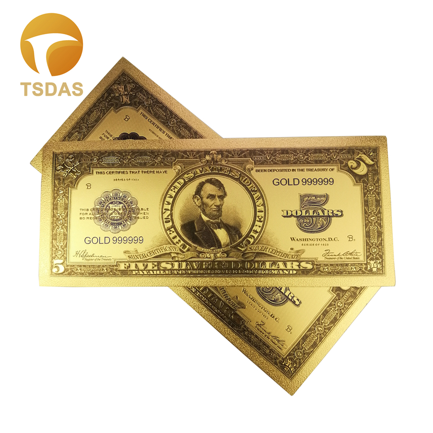 Color USA Banknotes Colored 1923 years <font><b>5</b></font> <font><b>Dollars</b></font> Gold Banknote for Collection <font><b>Bills</b></font> image