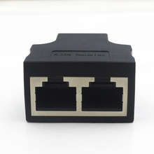 цена на RJ45 female to female 1 To 2 Ways RJ45 LAN Ethernet Network Cable Female Splitter Connector Adapter