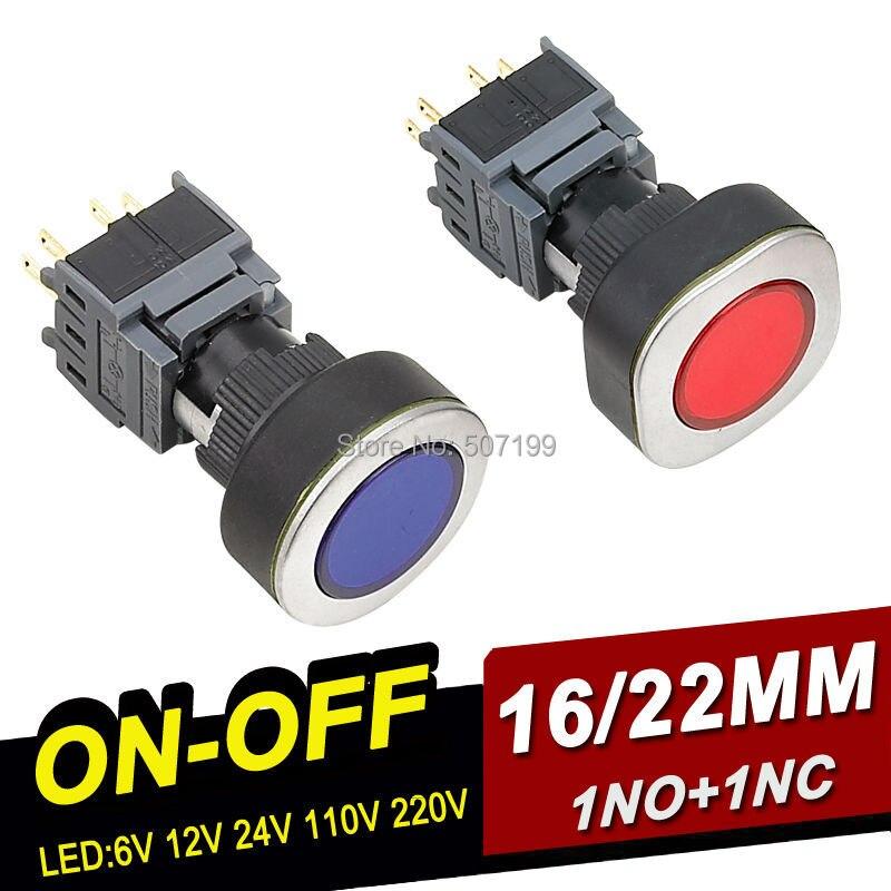 Switch bouton poussoir lumineux 2 pole pcb avec led verte presse