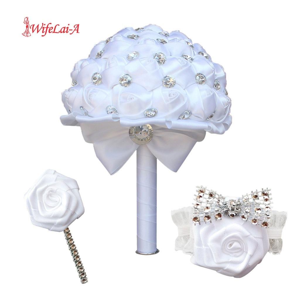 (Wrist Flower And Boutonniere) White Butterfly Rhinestone Bouquet Diamond Brooch Holding Flowers Silk Wedding Bridal Bouquet Set