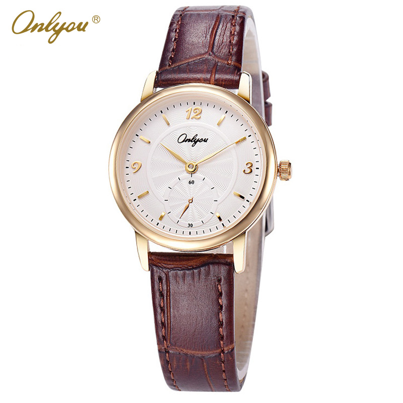Onlyou Brand Ladies Fashion Quartz Watch Genuine Leather Wrist Watches For Women Montre Femme Female Watch Clock Gifts 81101 newly design dress ladies watches women leather analog clock women hour quartz wrist watch montre femme saat erkekler hot sale