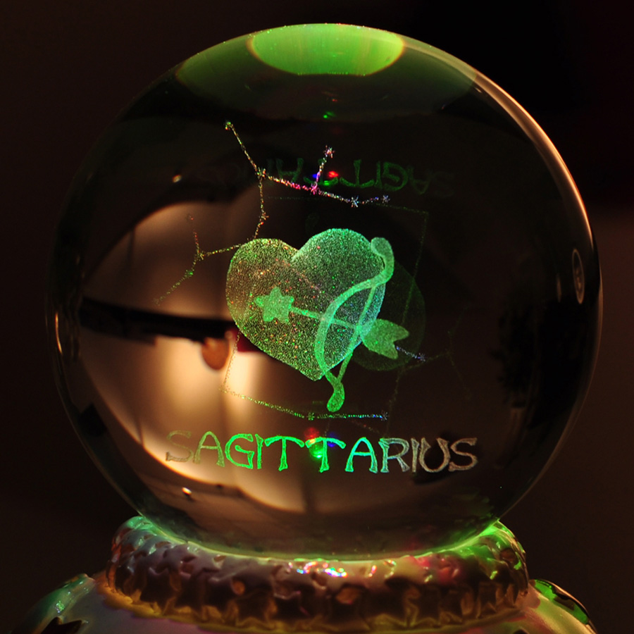 12 Constellation Rotating Crystal Ball Music Box LED Light Musical - Heminredning - Foto 2