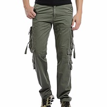 2017 Men's Cargo Pant Casual Men Multi-Pocket Overall Male Combat Long baggy Loose Trouser Khaki Casual easy wash pants Size 42