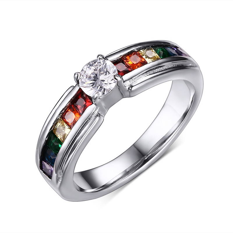 Anel Women Stone Hot Sale New Arrival Anillos Beautiful Rings Rainbow Color Ring With Zircon Austrian Stainless Steel Jewelry