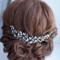 Handmade Beads Crystal Bridal Hair Flower Rhinestone Hair Jewelry Prom Headdress Headpieces Women Girls Wedding Hair