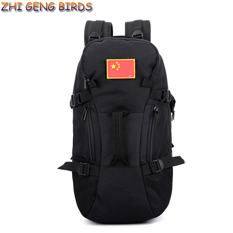 ФОТО ZHI GENG BIRDS! Large Capacity Travel Bag Tactics Trekking Backpack Fashion Cylinder Package Multifunction Nylon Men Bagpack P26