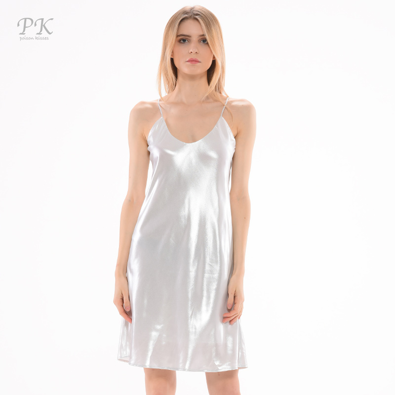 PK argento metallizzato vestito estate 2018 partito club donne sexy metallic print vestiti vestidos mujer fashion girls alibaba espresso