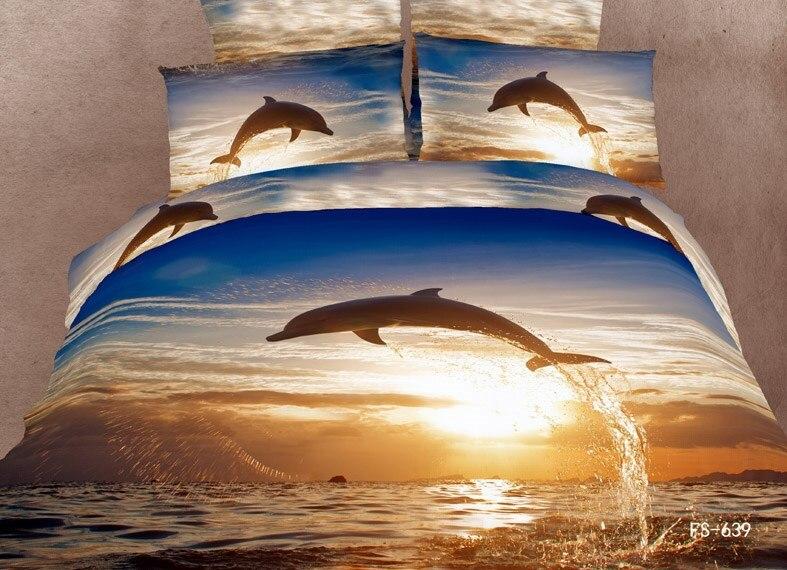 Cotton Bed Linen Brown Dolphin Bedding Set Quiltduvet Covers Full Queen Comforter Cover In