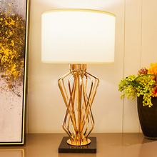 Metal Table Lamps For the Bedroom Living Room Marble Base Lamp Strip Iron Golden Color Led