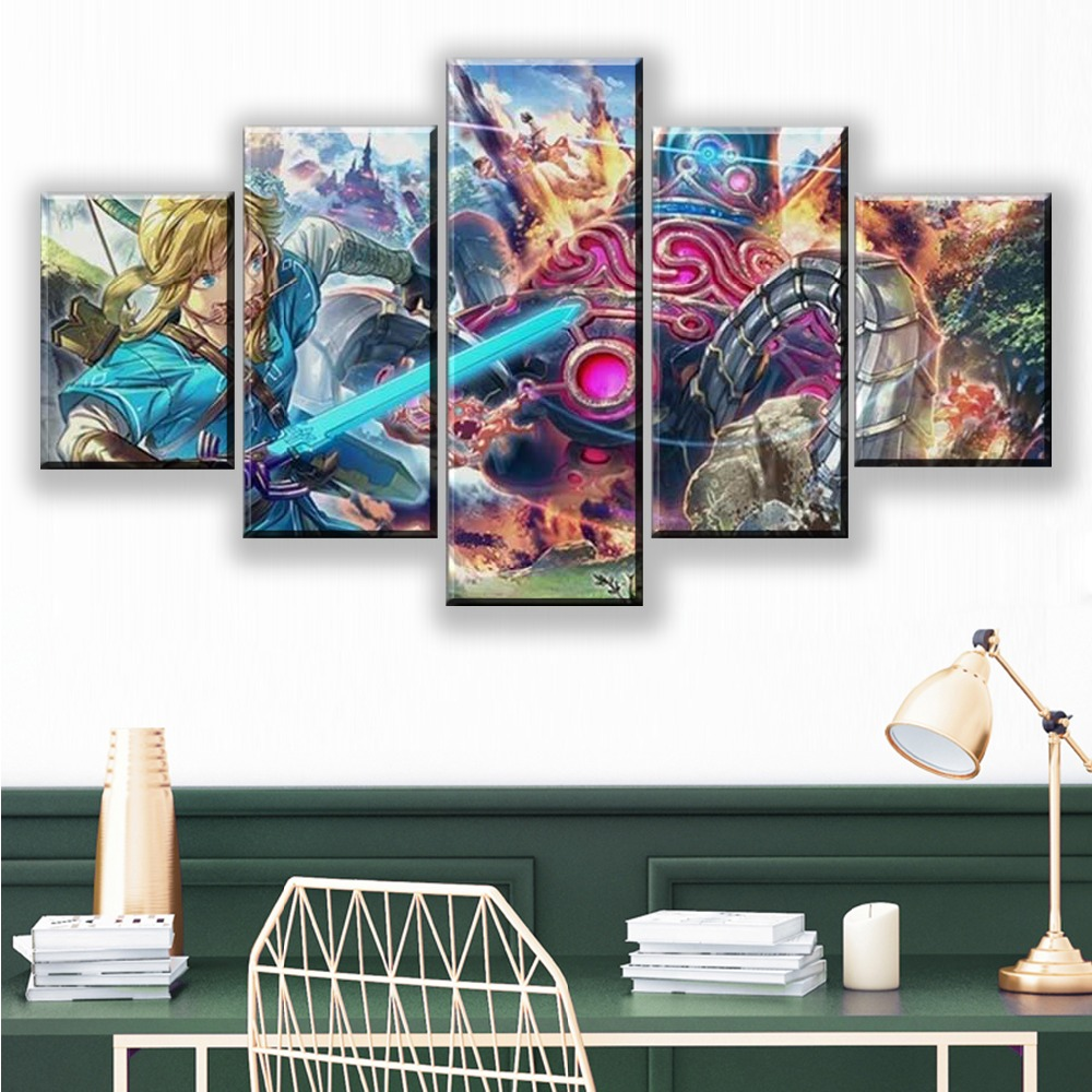 Hd Home Decor Canvas Paintings 5 Pieces Breath Of The Wild Pictures Modern Wall Artwork Prints Modular Poster For Living Room image