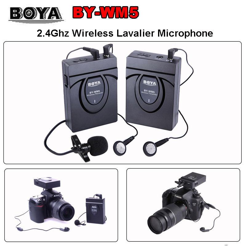 BOYA BY-WM5 DSLR Camera Wireless Lavalier Microphone Recorder System 2.4GHz GFSK Wireless Condenser Microphone TX RX Kit  boya by wm5 dslr camera wireless lavalier microphone recorder system for canon nikon sony dslr camera camcorder audio recorder