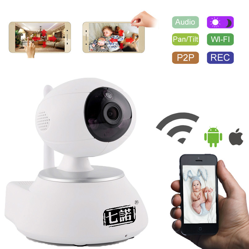 Seven Promise Wifi IP Camera wifi 720P Wireless MINI P2P CCTV Camera Home Security Onvif SD Card Indoor Cam Night Vision White 720p mini wifi ip camera wireless webcam home security surveillance camera p2p hd wifi cctv camera night vision support sd card