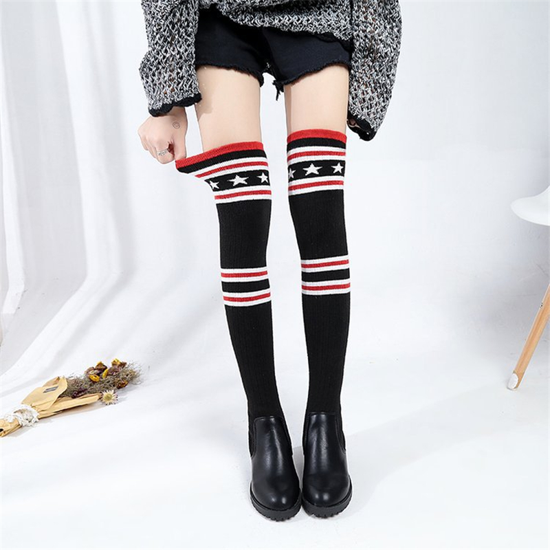 Striped sock boots shoes woman thigh high boots riding autumn over the knee boots bottes d hiver pour femmes gothic shoes women