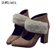 2016 Newest Women Winter High Heels Pointed Toe Rabbit Hair Sexy Office Shoes Femme Breathable Black/Coffee Fashion Shoes XJ220