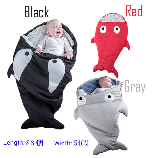 2017 Cartoon shark sleeping bags newborn baby carriage winter bedding warm pretty Sleepsacks cotton soft Sleepsacks Baby clothes