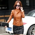 Biker Jackets Sheepskin Coat Women Leather Jacket Large Sized Turn-Down Collar Solid Pu Brand Com New Arrival Jaqueta Couro
