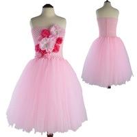 Moda Strass In Rilievo 3d Rosa Flower Girl Dress Rosa Tutu di Tulle Abiti di Sfera Delle Ragazze Del Partito Vestiti 2017