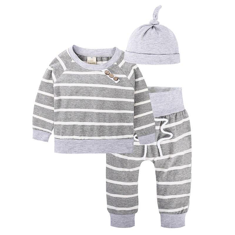 Fashion Stripe Cotton Long Sleeve Baby Clothing Set Spring Autumn Newborn Boy Girl Clothes V-Neck Tops+Pants+Hat 3 Pcs Suits
