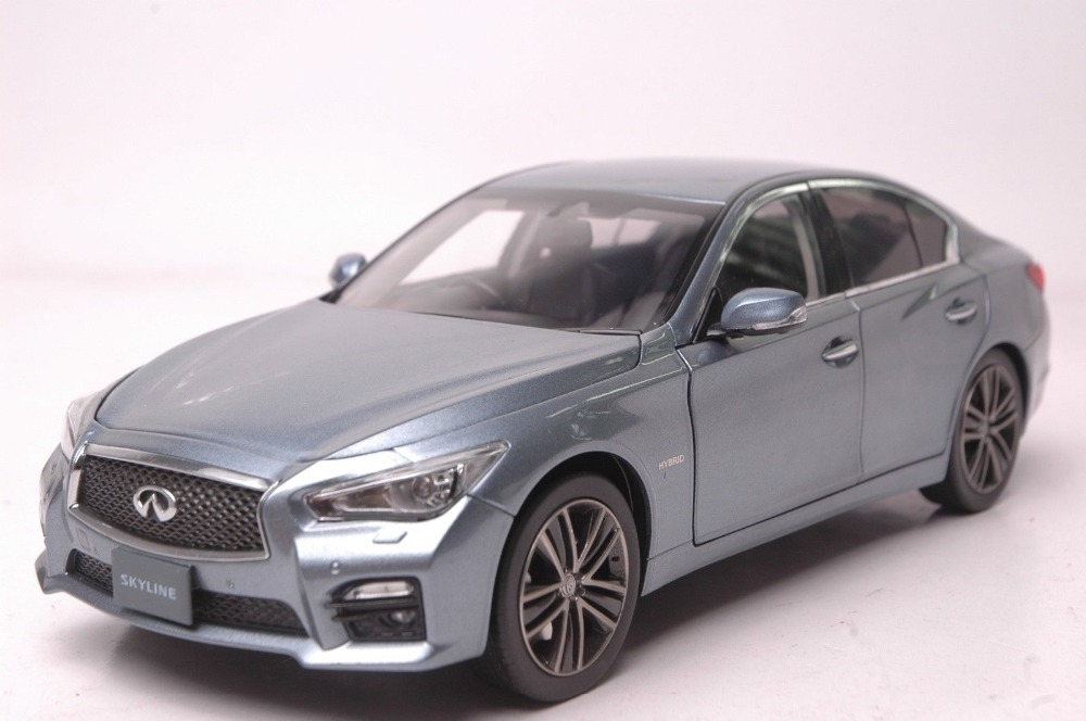 1:18 Diecast Model for Nissan Skyline 350GT Hybrid Type SP Blue Alloy Toy Car Infiniti Q50 epr car styling for nissan skyline r33 gtr type 2 carbon fiber hood bonnet lip