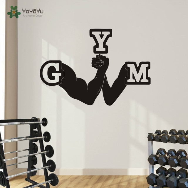 Fitness Gym Wall Vinyl Decal Sport Emblem Wall Sticker Home Decor
