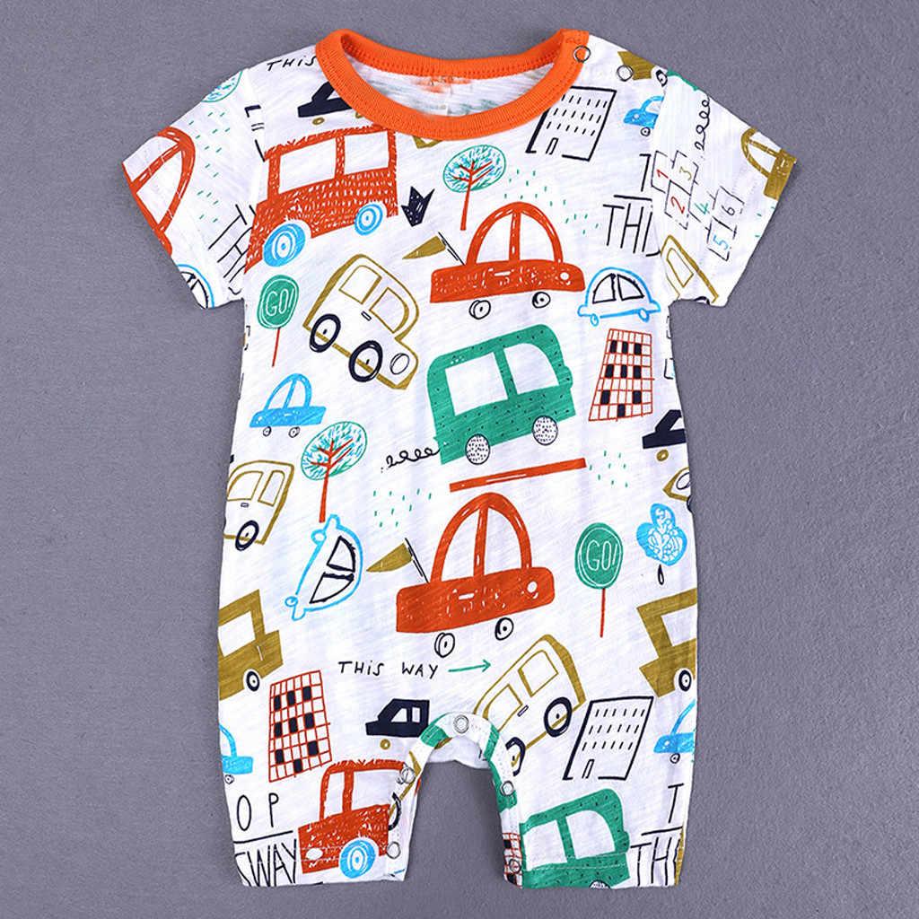 Enfant en bas âge nouveau-né enfants garçons barboteuse bande dessinée impression combinaison tenue vêtements été côtelé bébé vêtements bebek tulum bébé garçon barboteuses