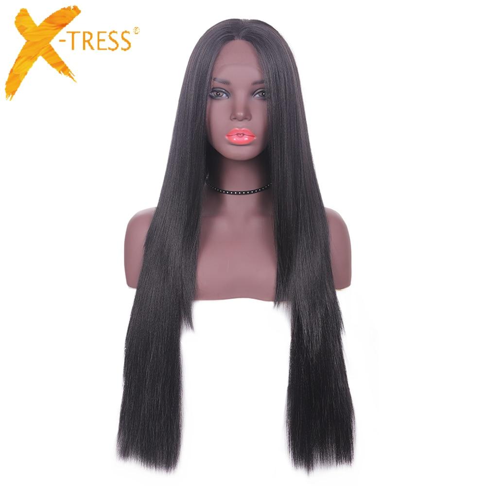 Perruque en dentelle longue droite avant cheveux synthétiques couches partie libre X-TRESS noir naturel 1B # Ombre couleur 13x4 pouces perruque en dentelle pour les femmes