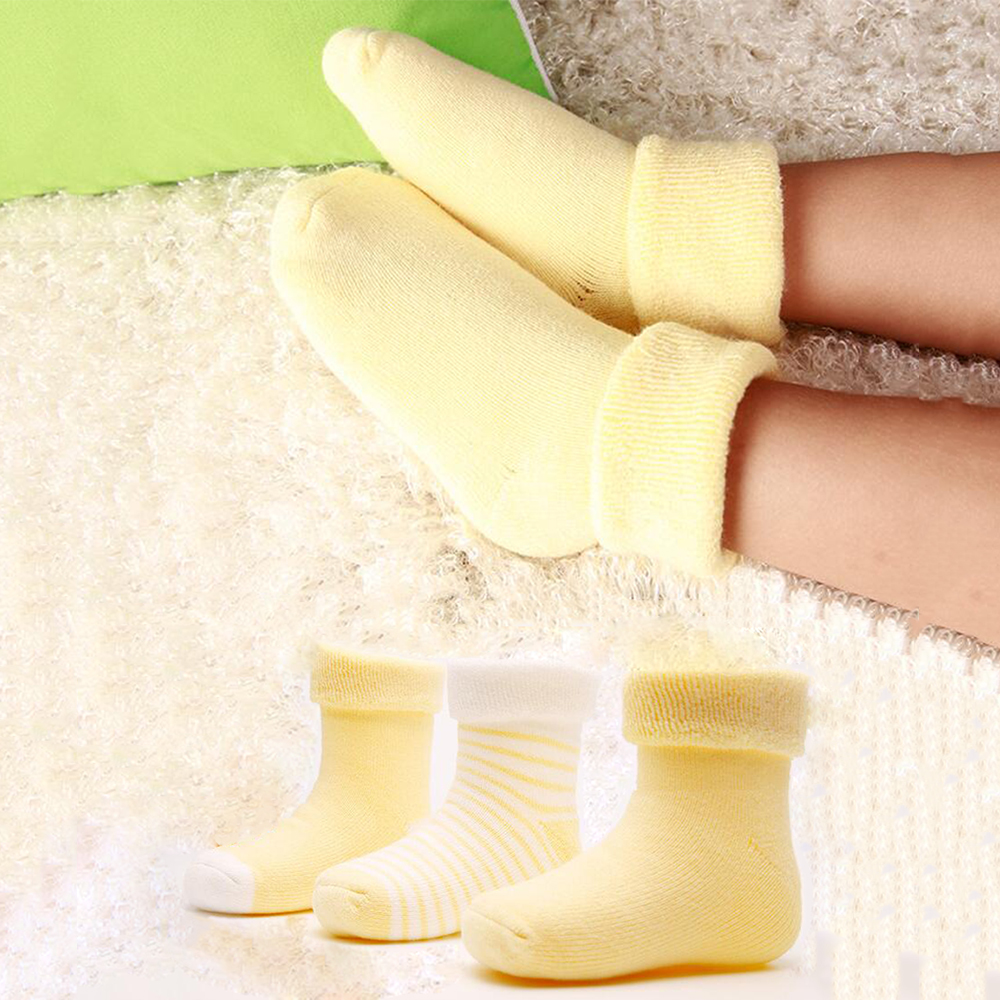 Clearance 3 Pairs Baby Cotton Socks Soft Warm Infant Solid Stripe Short Socks Newborn Boys Girls Thick Thermal Casual Wear Socks