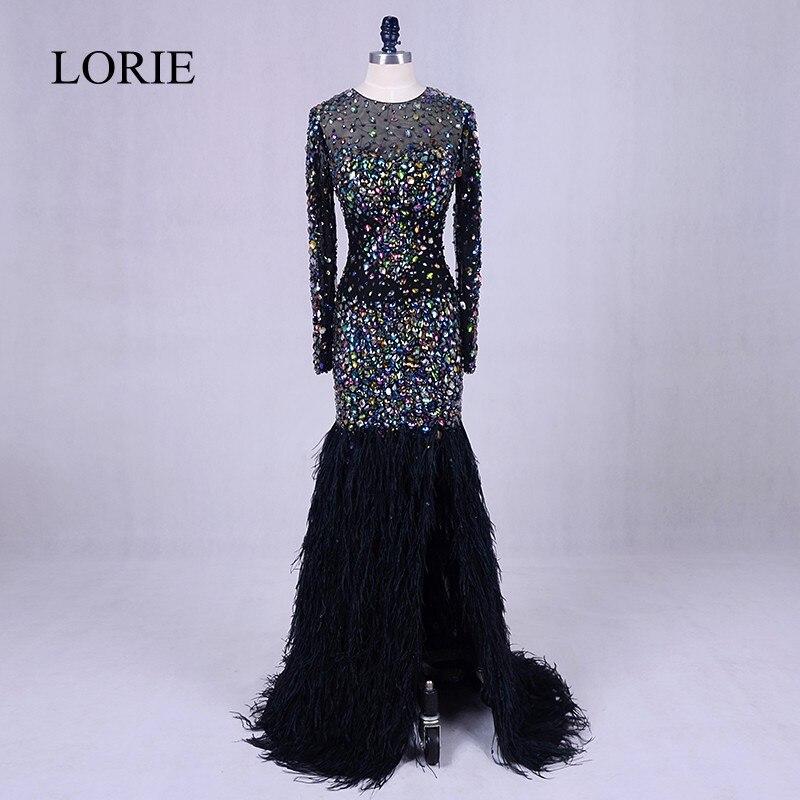 Abendkleider mit schwarzen Kristallen Abendkleider 2019 Abendkleider Federn Bling Bling Mermaid Prom Long Dresses Hochzeiten