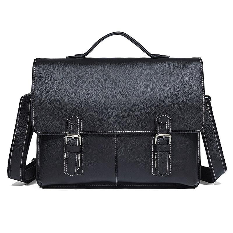 Men's Unique Design Briefcases Laptop Bag Genuine Cow Leather Classic Leather Computer Bag Black Handbag Busniess Bag