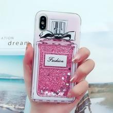 Liquid Quicksand Cover For iPhone XR X XS Max Case 5S SE 6 6s 7 8 Plus Glitter Milk Bottle Ins Pattern Soft TPU