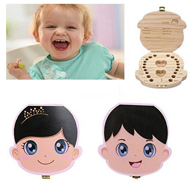 English Baby WoodenTooth Box Save Storage Box For Kids Unisex Lanugo Storage Box Deciduous Collection Baby Grow-up Souvenir