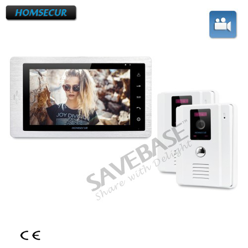 HOMSECUR 7 Wired Video Door Phone Intercom System + Outdoor Monitoring Brings Greater Convenience 2V1