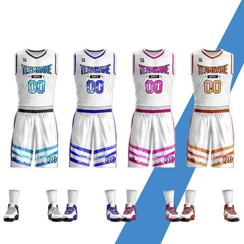 Uniformes de Basquete 2020 dos Homens da Juventude Barato College Basketball Jerseys Crianças Respirável Personalizada Camisas Shorts Grupo Tamanho Grande Branco