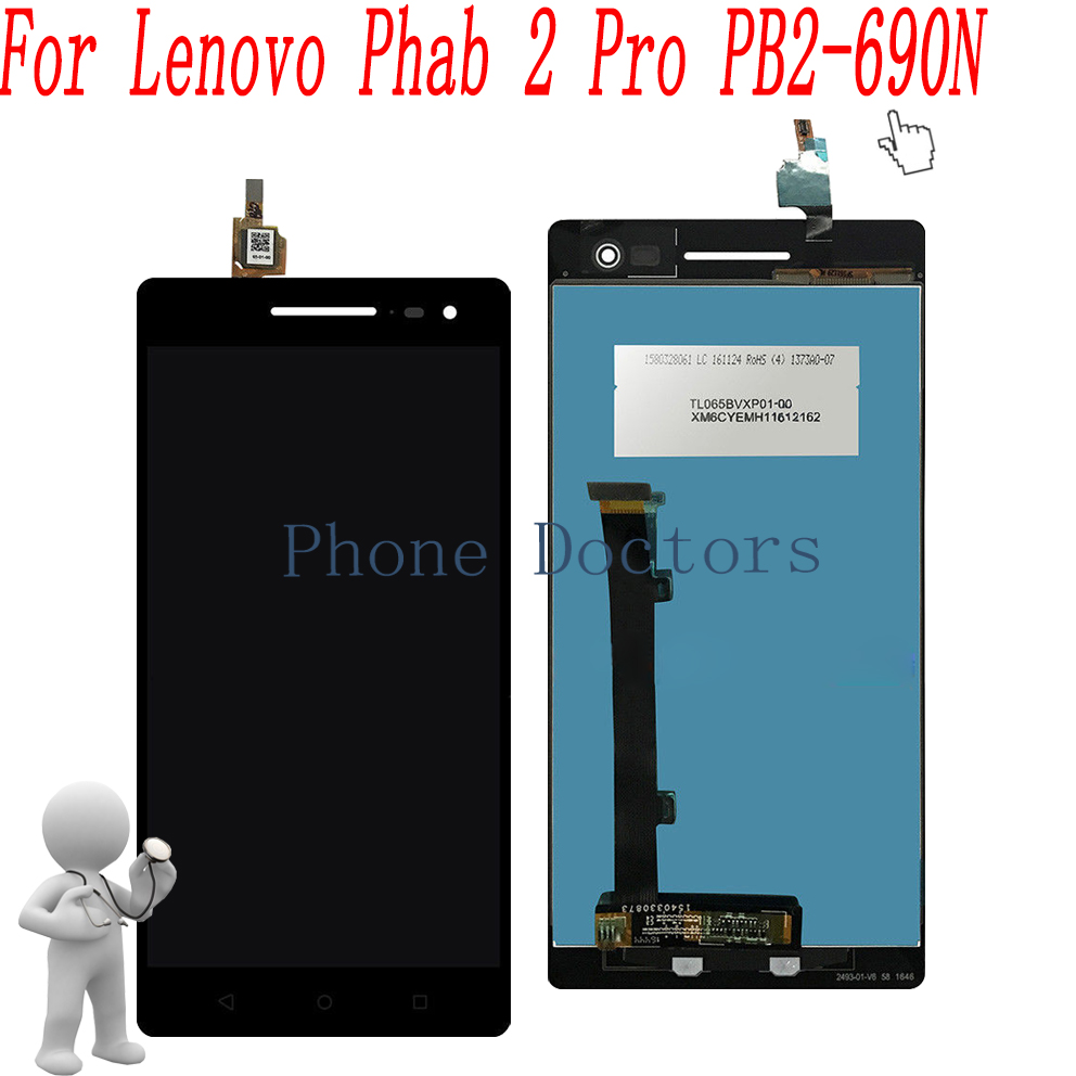 6.4 inch LCD DIsplay + Touch Screen Digitizer Assembly For Lenovo Phab 2 Pro PB2-690N PB2-690 PB2-690Y for lenovo vibe z2 pro k920 lcd display with touch screen digitizer assembly