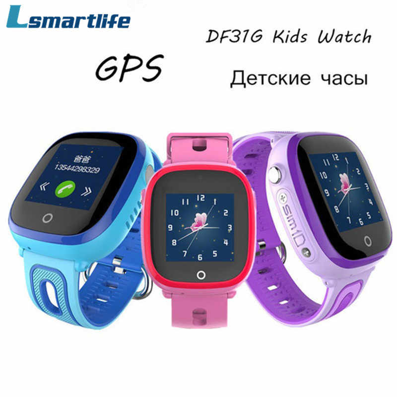Smart Watch Children GPS Safe Tracker DF31G Kids Watches Waterproof Band Support SIM Card SOS Call Baby Wristwatch Alarm Clock