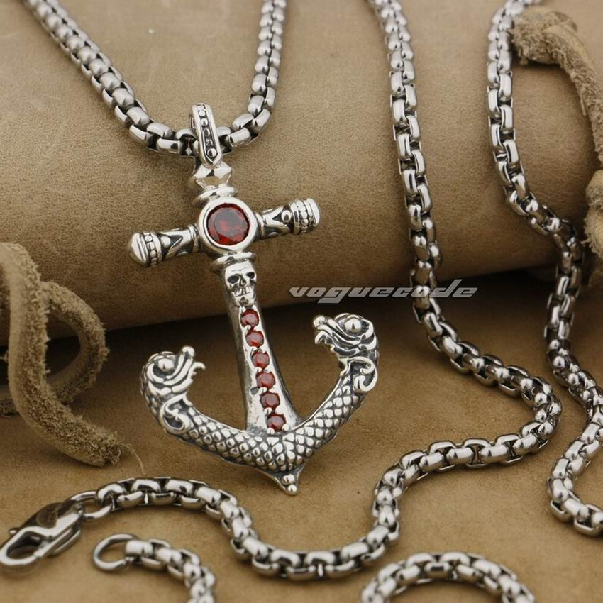 925 Sterling Silver Skull Anchor Red CZ Stone Fashion Pendant 9J002 Stainless Steel Necklace 24 inches retro skull anchor pendant necklace for men