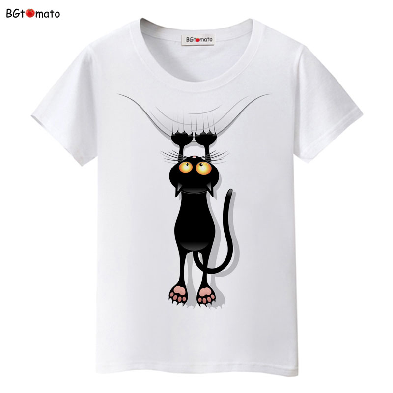 BGtomato Hot Sale Summer Naughty Black Cat 3D T Shirt Women Lovely Cartoon Tshirt Good Quality Original Brand Shirts Casual Tops