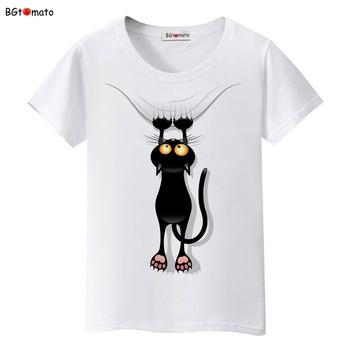 BGtomato gorąca sprzedaż lato niegrzeczny czarny kot 3D T koszula kobiety urocza koszulka kreskówka dobrej jakości oryginalne markowe koszulki Casual topy tanie i dobre opinie CN (pochodzenie) Modalne Poliester spandex Tees Krótki REGULAR Suknem Zwierząt t-shirts WOMEN NONE Na co dzień Osób w wieku 18-35 lat